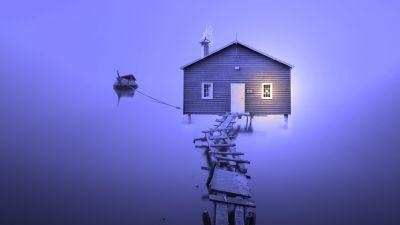 Boathouse, Wooden pier, Violet, Bankside, 5K