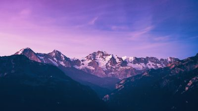Mountain Peak, Purple, City lights, Aerial view, Dawn, 5K