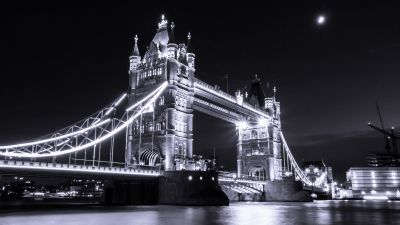 Tower Bridge, London, River Thames, Monochrome, Dark background, Lights, Cityscape, Night, Moon