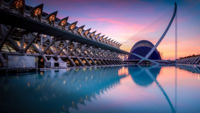 City of Arts and Sciences, Valencia, Spain, Sunrise, Pool, Reflection, Architecture, 5K