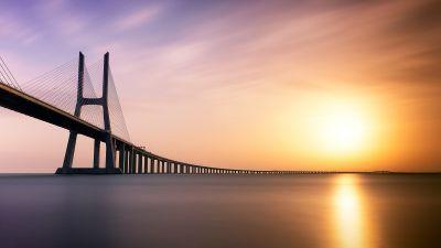 Vasco da Gama Bridge, Lisbon, Portugal, Tagus River, Sunrise, Water, Dawn, Architecture, 5K