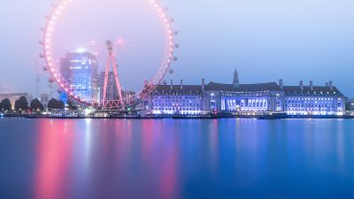 London Eye, Ferris wheel, River Thames, Cityscape, Dawn, Morning fog, Sky view, Water, Reflection