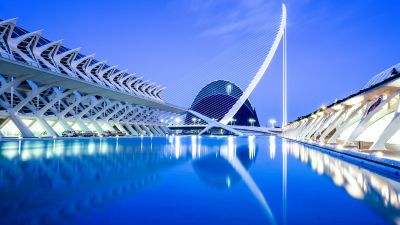 City of Arts and Sciences, Valencia, Spain, Blue hour, Water, Reflection, Lights, Dusk, 5K, 8K