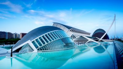 City of Arts and Sciences, Valencia, Spain, Pool, Blue hour, Sky view, Evening, Water, Reflection, 5K