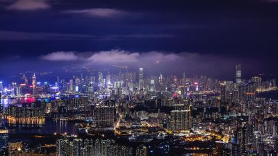 Cityscape, Hong Kong, Night, City lights, Skyline