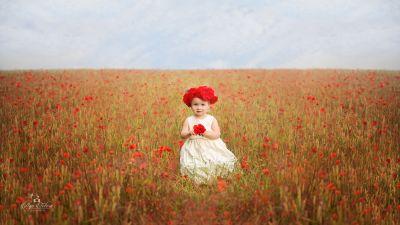 Cute Girl, Red flowers, Garden, White Dress, Cute eyes, 5K
