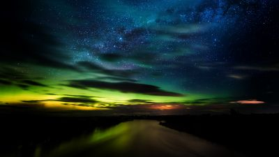 Aurora Borealis, Stars, Clouds, New Zealand, Dawn, Night, River, Green, Blue Sky, Dark background, 5K