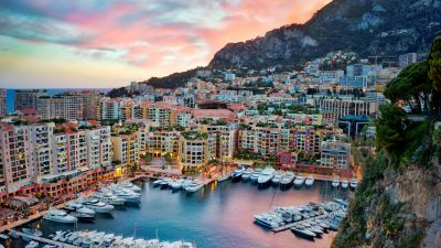 Monte Carlo, Monaco, Yacht, Harbor, Boats, Clouds, Sky view, Waterfront, 5K, 8K