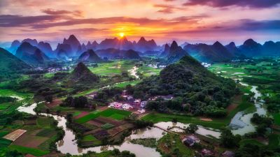 Guilin City, China, Sunset, Beautiful, Green Fields, Village, River, Mountains, Clouds, 5K, 8K