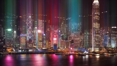 Hong Kong, Cityscape, Kowloon, Architecture, Nightlife, Ferris wheel, Lights, River, Reflection, 5K, 8K