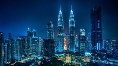 Petronas Towers, Kuala Lumpur, Malaysia, Cityscape, Night lights, Blue, Architecture, Skyscrapers, 5K, 8K