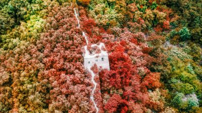 Great Wall of China, Beijing, Aerial view, Beautiful, Green, Red, Colorful, Trees