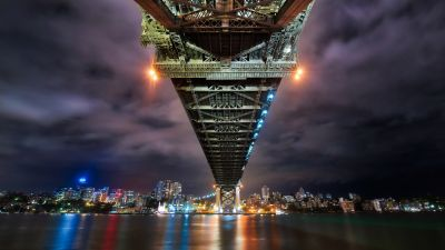 Sydney Harbour Bridge, Australia, Cityscape, River, Reflection, Night lights, Sky view, 5K