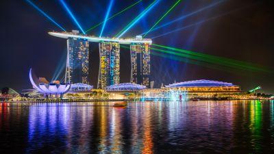 Marina Bay Sands, Light show, Singapore, Laser Lights, Colorful, River, Reflections, Cityscape, Night, 5K, 8K