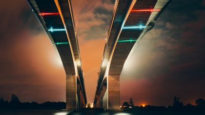 Two Bridges, Low Angle Photography, Structure, Lights, Dusk, Clouds, Sky view