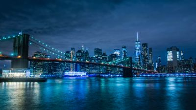 Brooklyn Bridge, Manhattan Skyline, Waterfront, New York, Cityscape, Blue, Night life, Body of Water, Clear sky, Architecture, 5K