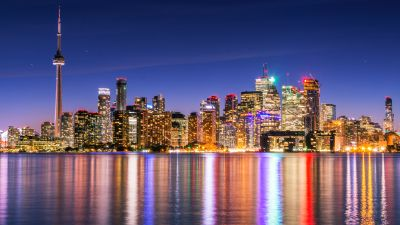 Toronto Skyline, Skyscrapers, Canada, Cityscape, Night lights, Waterfront, Dusk, Reflections, Architecture, Clear sky, Multicolor, 5K