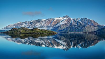 Snow mountains, Lake, Reflection, Water, Blue Sky, Landscape, Clouds