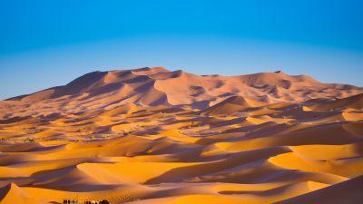 Sahara Desert, Merzouga, Morocco, Sand Dunes, Blue Sky, Sunny day, 5K