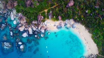 Sea shore, Rocks, Blue Ocean, Aerial view, Sand, Green, Trees
