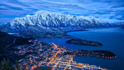 Lake Wakatipu, Queenstown, New Zealand Snow mountains, Cityscape, Night lights, Blue Sky, Clouds, 5K