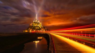 Mont Saint Michel, France, Cathedral, Monastery, Church, Night Time, Light Streaks, Island, Orange, Red, 5K