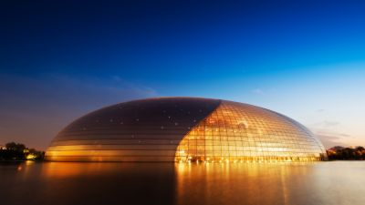 National Centre for the Performing Arts, China, Modern architecture, Blue Sky, Clear sky, Evening, Lights, Orange, 5K