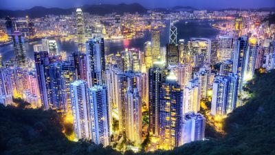 Hong Kong City, Aerial view, Night lights, Cityscape, Sunset, Skyscrapers, Vibrant, Clouds, River