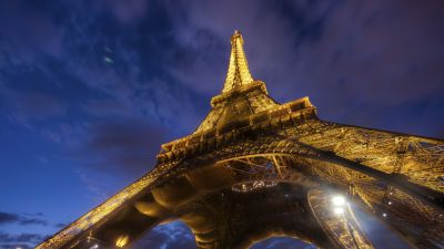 Eiffel Tower, Paris, Lights, Sky view, Clouds, Iconic, Metal structure, 5K