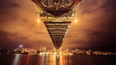 Sydney Harbour Bridge, Australia, Cityscape, River, Reflection, Nightscape, Sky view, Orange, Bright, City lights, 5K, 8K