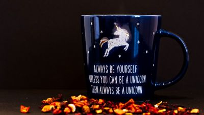 Coffee cup, Blue, Unicorn, Dark background, Always be yourself, Mug, Motivational