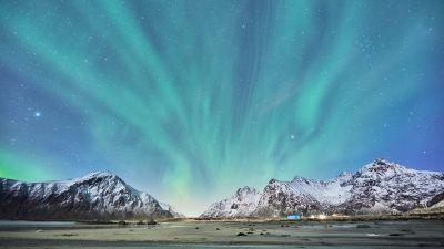 Snow mountains, Glacier, Aurora Borealis, Landscape, Blue Sky, Lofoten islands, Norway, Stars, 5K