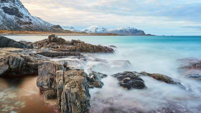 Skagsanden beach, Cliff, Rocks, Ocean blue, Sky view, Clouds, Snow mountains, Lofoten islands, Seascape, 5K
