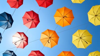 Umbrellas, Blue Sky, Colorful, Sky view, Multicolor, Pattern, Red, Yellow, 5K