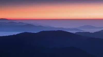 Sunset Orange, Sky view, Mountains, Foggy, Mountain range, 5K