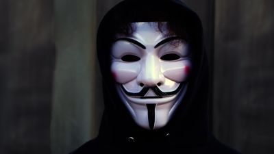 Man in Mask, Anonymous, White masks, Black Hoodie, Guy Fawkes mask, 5K