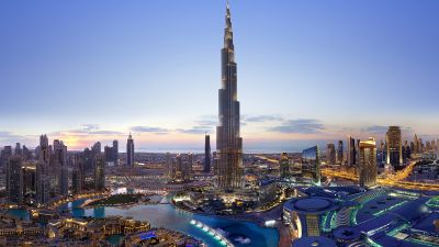 Burj Khalifa, Dubai, Cityscape, Skyscrapers, Dusk, Clearsky, Sunset, Aerial view, City lights, Modern architecture, Panorama