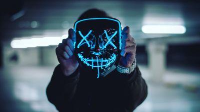 Neon Mask, Blue Lights, Portrait, Anonymous, Face Mask