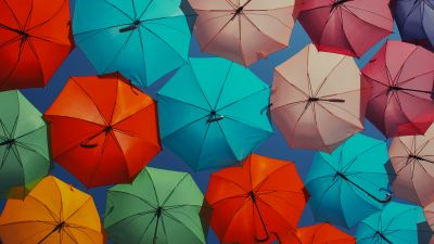 Umbrellas, Multicolor, Colorful, Vibrant, Sky View, 5K