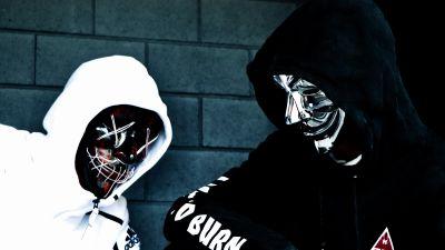 Persons in Mask, Sweatshirt, Black Mask, Anonymous, White, Black, Hoodie, 5K