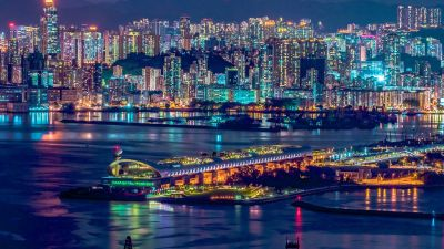 Hong Kong City, Cityscape, Nightlife, Skyscrapers, Waterfront, Reflections, River, Nighttime, 5K