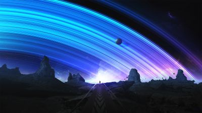 Trails, Planets, Surreal, Space, Blue
