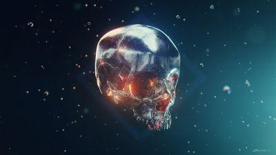 Skull, Metal, Iron, 3D model, Render