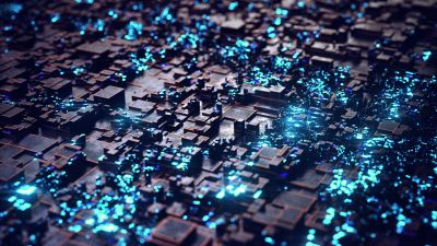 Greebles, Render, CGI, 3D background, Cyan background, Glowing, Sci-Fi