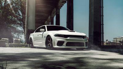 Dodge Challenger SRT Hellcat Widebody, White cars, 5K, 8K