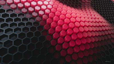 Hexagons, Patterns, Red background, Red blocks, Black blocks, 3D background, Geometric