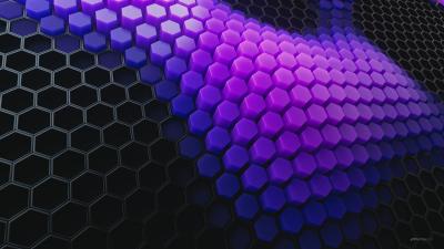 Hexagons, Patterns, Violet background, Violet blocks, Black blocks, 3D background, Geometric