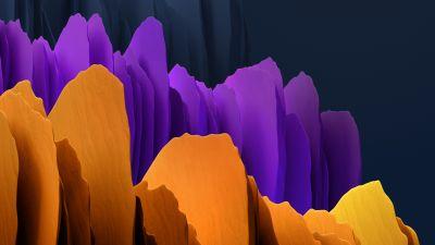 Samsung Galaxy Tab S7, Orange, Purple, Dark, Stock