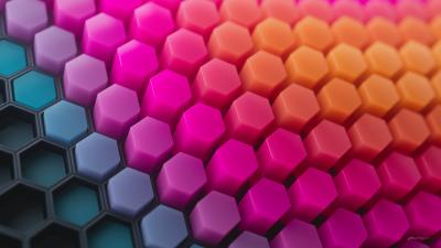 Hexagons, Patterns, Colorful background, Colorful blocks, Black blocks, Geometric, 3D background