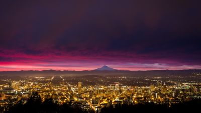 Cityscape, Sunrise, Portland, Panorama, City lights